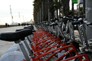View of Bicing rack by marina in Barcelona