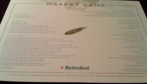 Photo of the menu at Market Lane (circa February 2008)
