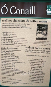 O'Conaill's Chocolates's storefront sign and menu. Don't miss this place if you love chocolate and are in Cork City