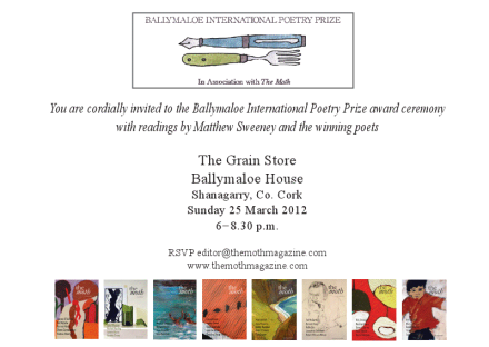 Ballymaloe International Poetry Prize Giving Ceremony Invitation